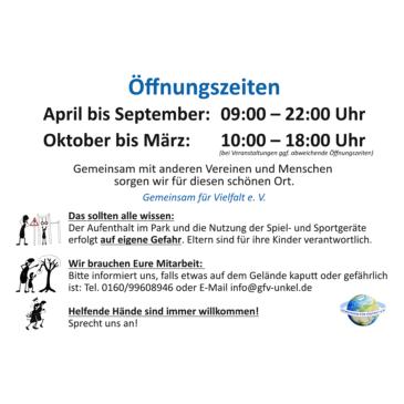 Neue Öffnungszeiten für den Bürgerpark Unkel (Pressemitteilung GfV)